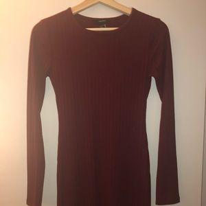 Burgundy, midi-length body con dress.
